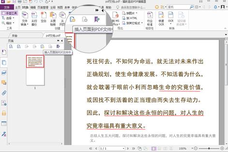 插入页面到PDF文